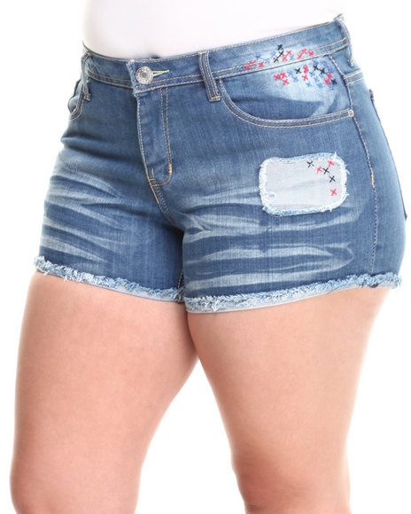 Fashion Lab - Frayed Cuff Denim Short w/ Colorful Stitching Details (Plus)
