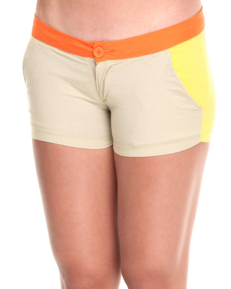 Fashion Lab - Women Orange,Tan,Yellow Golden Poppy Color Block Cali Shorts