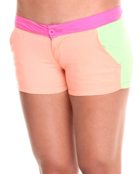 Fashion Lab - Women Coral,Lime Green,Pink Color Block Cali Shorts