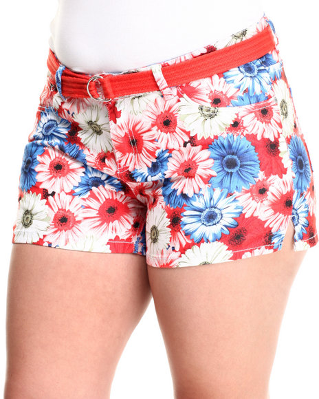 Fashion Lab - Women Multi,Red Belted Floral Print Denim Short (Plus)