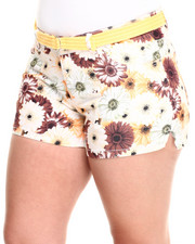 Plus Size - Belted Sunflower Print Short (Plus)