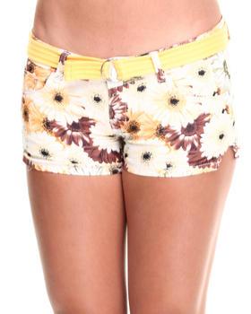 Fashion Lab - Yellow Iris Belted Sunflower Print Short