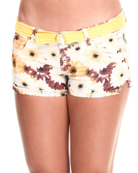 Fashion Lab - Women Yellow Yellow Iris Belted Sunflower Print Short - $8.99