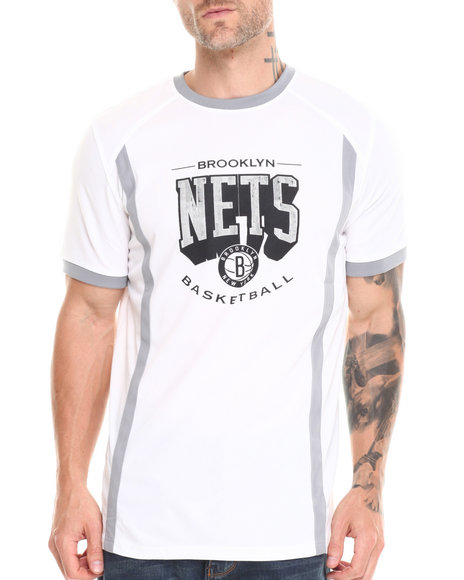 Nba, Mlb, Nfl Gear - Men White Brooklyn Nets Varsity Tee