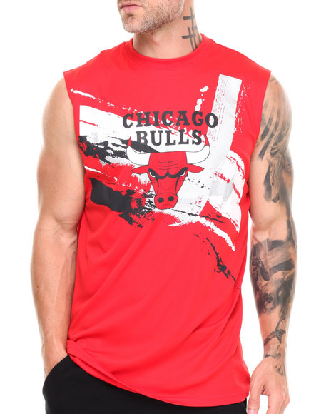 Nba, Mlb, Nfl Gear - Men Red Chicago Bulls Charlie Muscle Tee