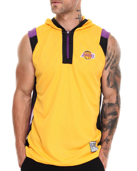 Nba, Mlb, Nfl Gear - Men Yellow Los Angeles Lakers Fence Shooter Muscle Shirt