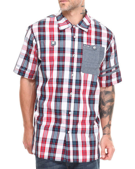Parish Multi,Navy Plaid S/S Button Down