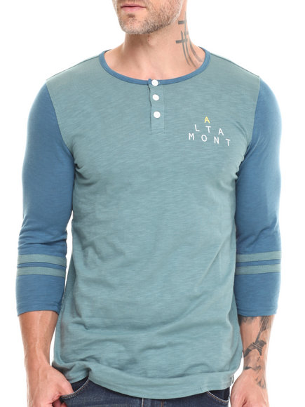 Altamont - Men Blue,Green Elint Henley Tee - $24.99