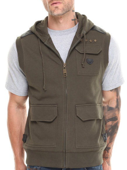 Parish - Men Green Pulaski Sleeveless Hoodie