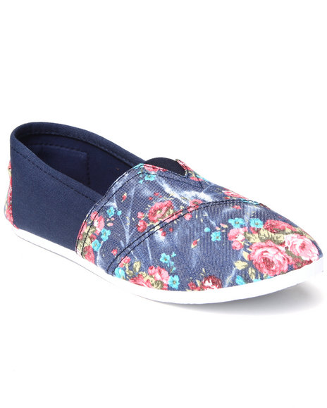 Apple Bottoms - Women Navy Blue Flower Casual Canvas Sneaker - $13.99