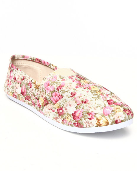 Apple Bottoms - Women Pink Flower Casual Canvas Sneaker - $11.99