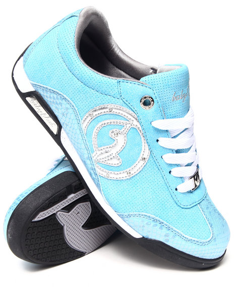 Baby Phat Blue,Silver Orla Blue Low Court Sneaker