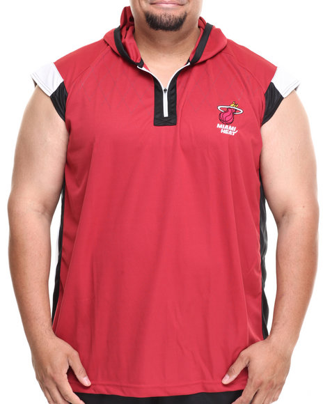 Nba, Mlb, Nfl Gear - Men Dark Red Miami Heat Fence Shooter Muscle Shirt (B&T)
