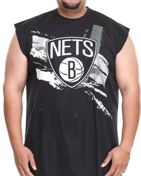 Nba, Mlb, Nfl Gear - Men Black Brooklyn Nets Charlie Muscle Tee (B&T)