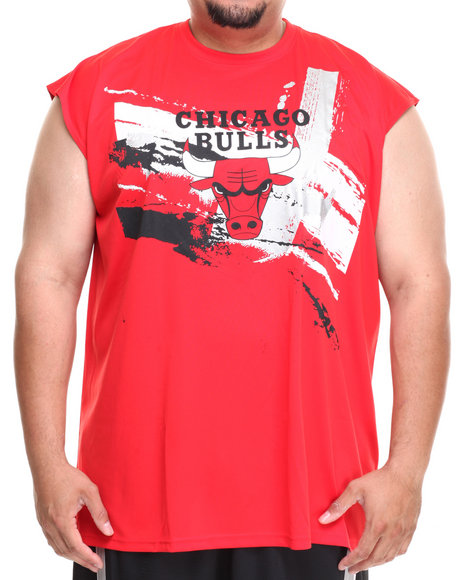Nba, Mlb, Nfl Gear - Men Red Chicago Bulls Charlie Muscle Tee (B&T)
