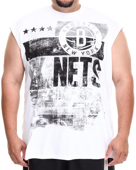 Nba, Mlb, Nfl Gear - Men White Brooklyn Nets Mobley Muscle Tee (B&T)