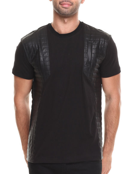 Forte' - Men Black Mafia Quilted P U - Blocked S/S Tee