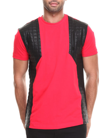 Forte' - Men Red Mafia Quilted P U - Blocked S/S Tee - $60.99