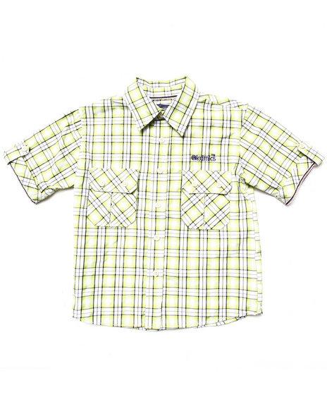 Akademiks - Boys Lime Green Plaid Button Down Shirt (4-7)
