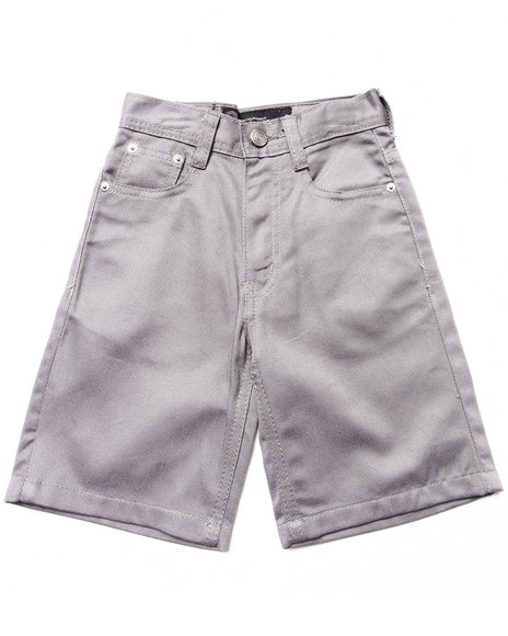 Akademiks - Boys Grey Cotton Twill Bull Denim Shorts (4-7)