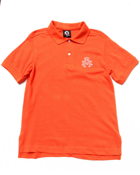 Akademiks - Boys Orange Solid Polo (8-20)