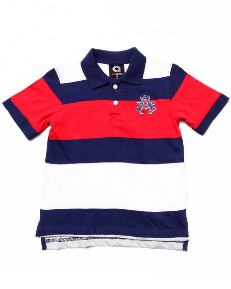 Akademiks - Boys Navy Striped Polo (4-7)