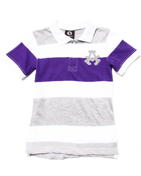 Akademiks - Boys White Striped Polo (4-7) - $10.99