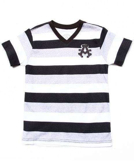 Akademiks Boys Black Cotton Striped V-Neck