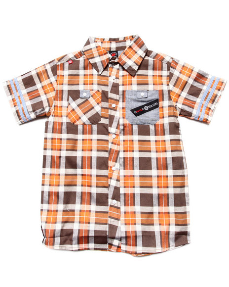 Enyce Boys Orange S/S Plaid Woven (8-20)