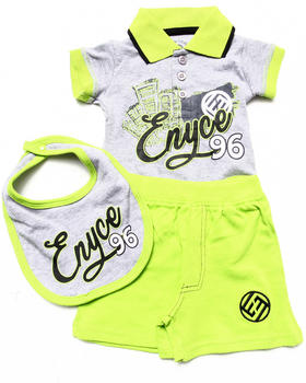 Enyce - 3 PC SET - POLO BODYSUIT, SHORTS, & BIB (NEWBORN)