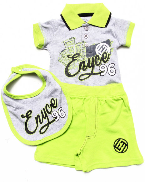 Enyce Boys Green 3 Pc Set Polo Bodysuit, Shorts, & Bib (Newborn)