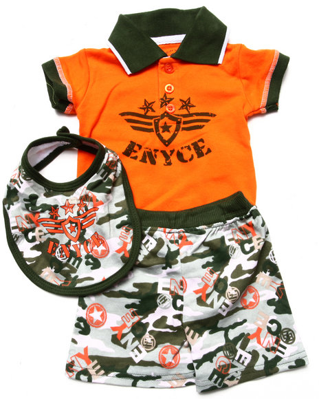 Enyce Boys Orange 3 Pc Set Polo Bodysuit, Shorts, & Bib (Newborn)