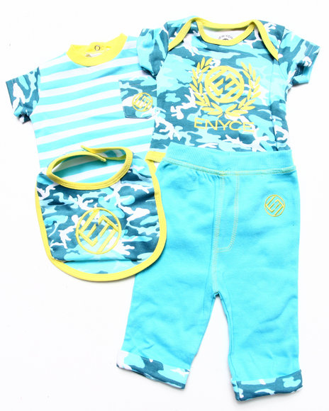 Enyce Boys Teal 4 Pc Set 2 Bodysuits, Pants, & Bib (Newborn)