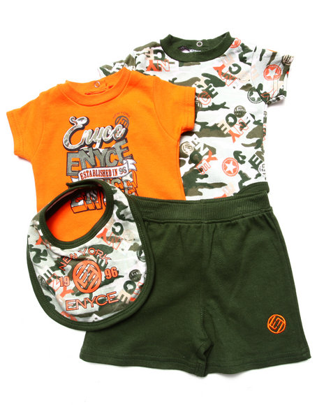 Enyce Boys Orange 4 Pc Set 2 Bodysuits, Shorts, & Bib (Newborn)