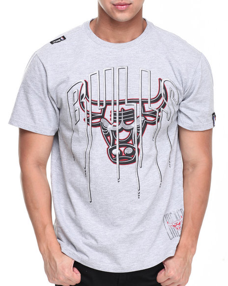 Nba, Mlb, Nfl Gear - Men Grey Chicago Bulls Ice Tee