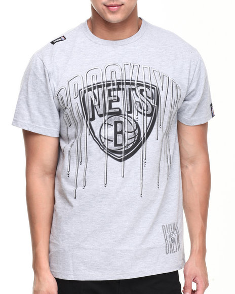 Nba, Mlb, Nfl Gear - Men Grey Brooklyn Nets Ice Tee