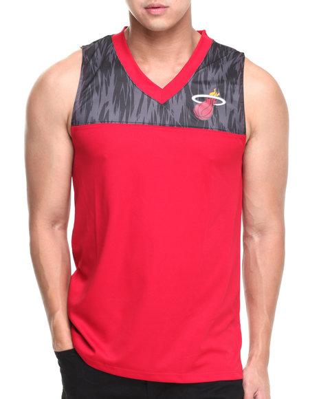 Nba, Mlb, Nfl Gear - Men Red Miami Heat Asphalt Team Tank Top