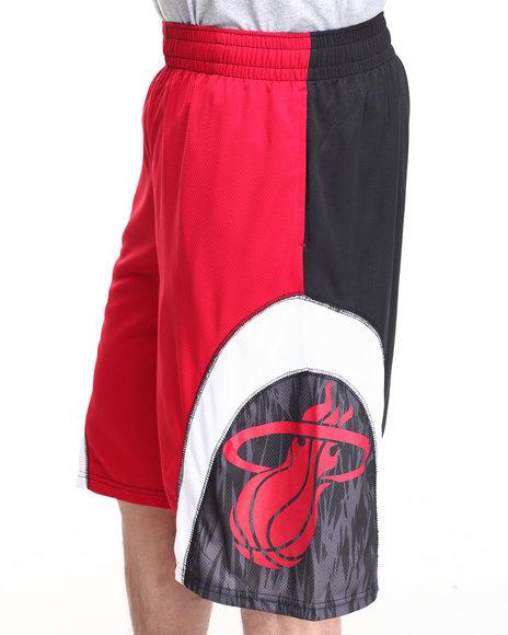 Nba, Mlb, Nfl Gear - Men Red Miami Heat Asphalt 1 Shorts - $11.99