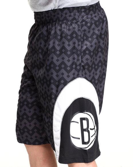 Nba, Mlb, Nfl Gear - Men Black Brooklyn Nets Team Aztec 1 Shorts
