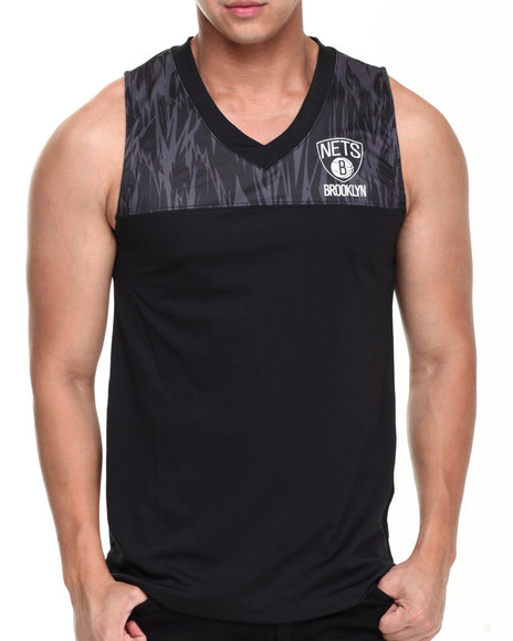 Nba, Mlb, Nfl Gear - Men Black Brooklyn Nets Asphalt Team Tank Top