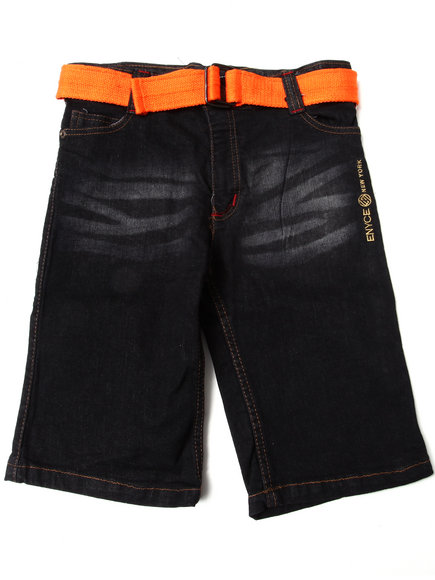Enyce Boys Dark Wash Belted Denim Shorts (8-20)