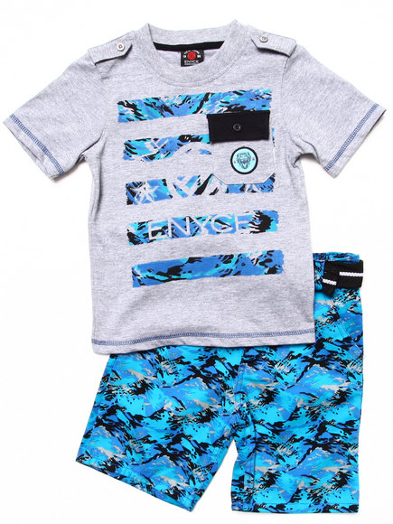 Enyce Boys Blue 2 Pc Set Pocket Tee & Digi Camo Cargo Shorts (4-7)