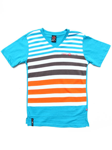 Enyce Boys Blue Striped V-Neck Tee (8-20)