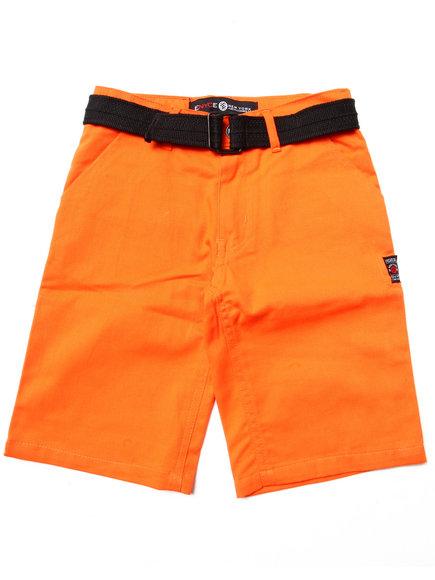 Enyce Boys Orange Belted Twill Shorts (8-20)