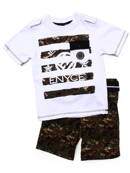Enyce Boys Olive 2 Pc Set Pocket Tee & Digi Camo Cargo Shorts (4-7)