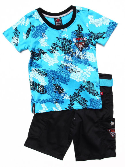 Enyce Boys Blue 2 Pc Set Camo Tee & Shorts (4-7)