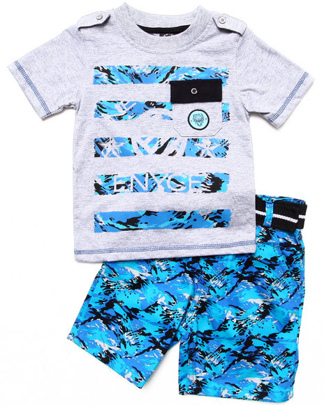 Enyce Boys Blue 2 Pc Set Pocket Tee & Digi Camo Cargo Shorts (2T-4T)