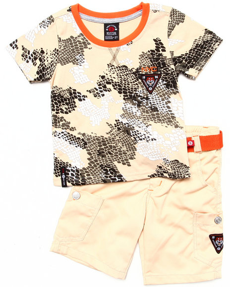 Enyce Boys Khaki 2 Pc Set Camo Tee & Shorts (2T-4T)