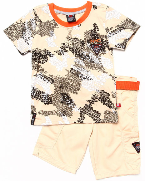 Enyce Boys Khaki 2 Pc Set Camo Tee & Shorts (4-7)