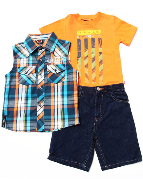 Enyce Boys Orange 3 Pc Set Sleeveless Plaid Woven, Muscle Tee, & Shorts (4-7)